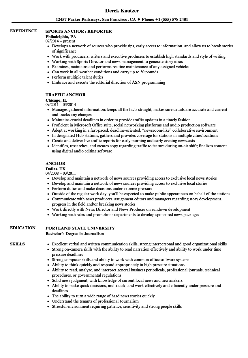 anchor resume samples