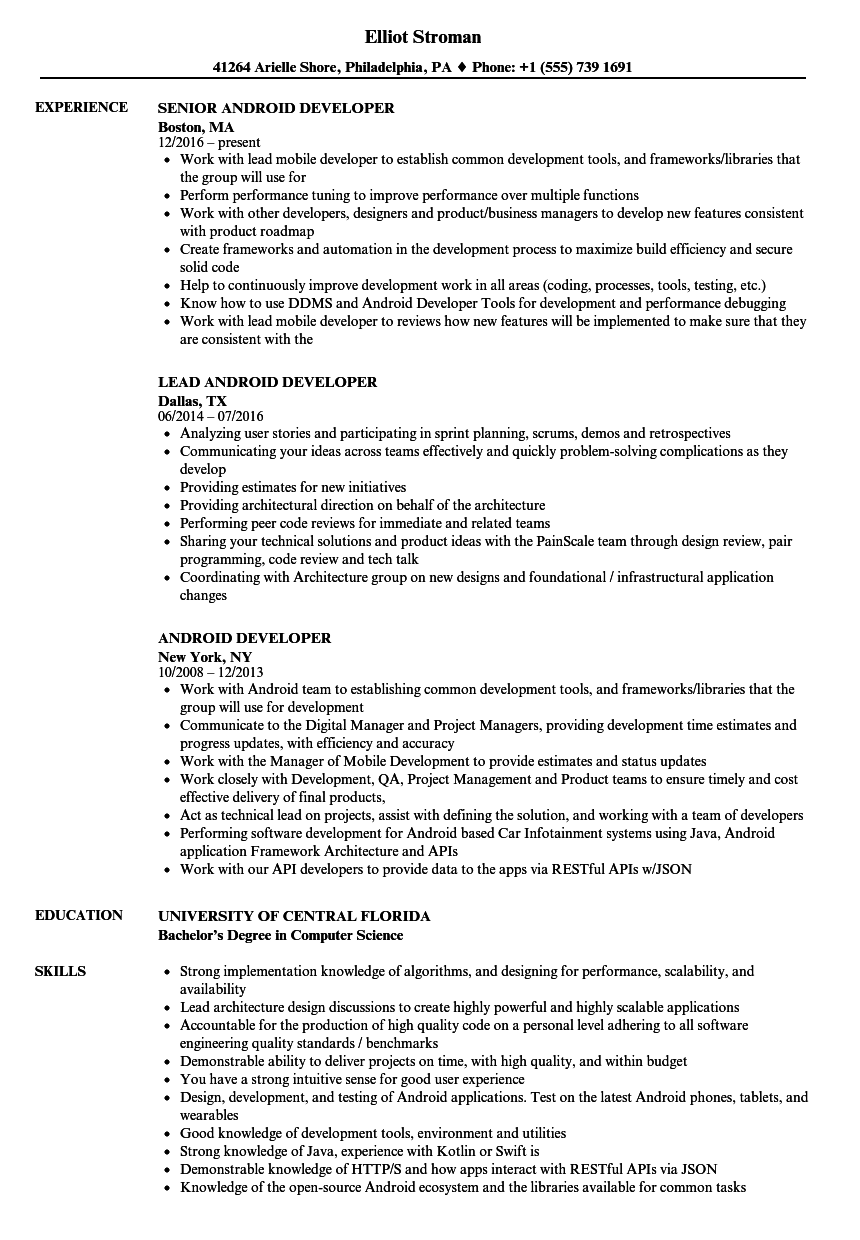 Android Developer Resume Samples | Velvet Jobs
