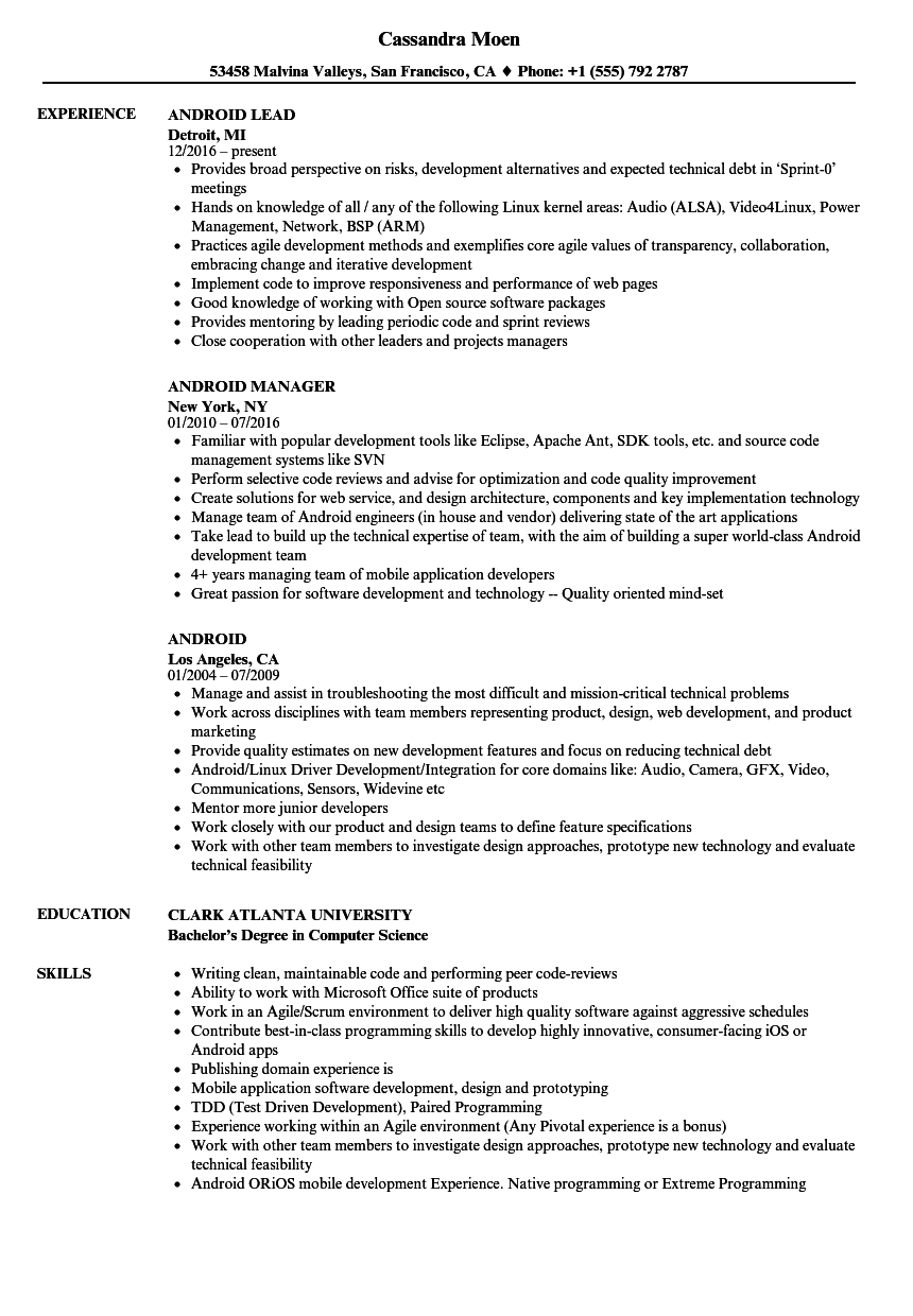 Android Resume Samples | Velvet Jobs
