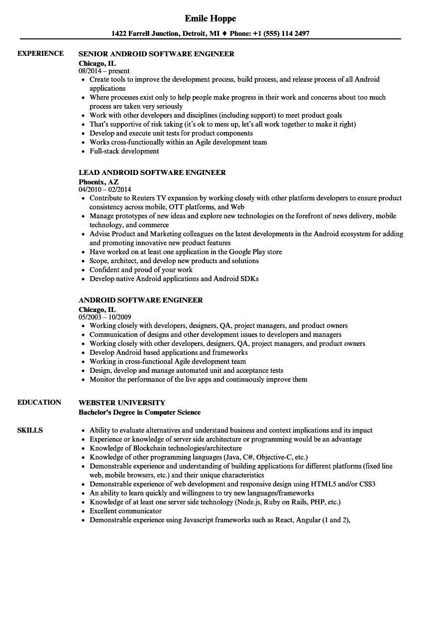 android software engineer resume samples
