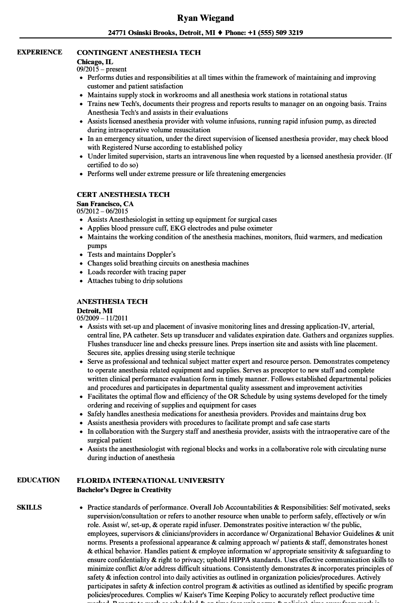 anesthesia tech resume samples