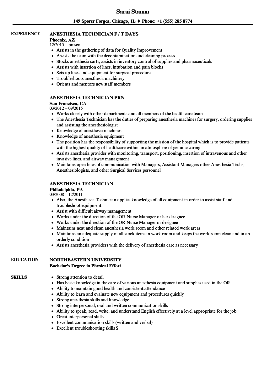 Anesthesia Technician Resume Samples | Velvet Jobs