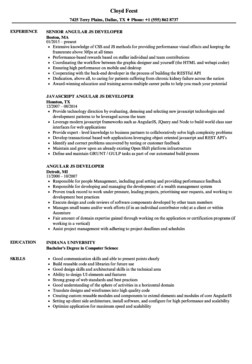 angular js developer resume samples velvet jobs