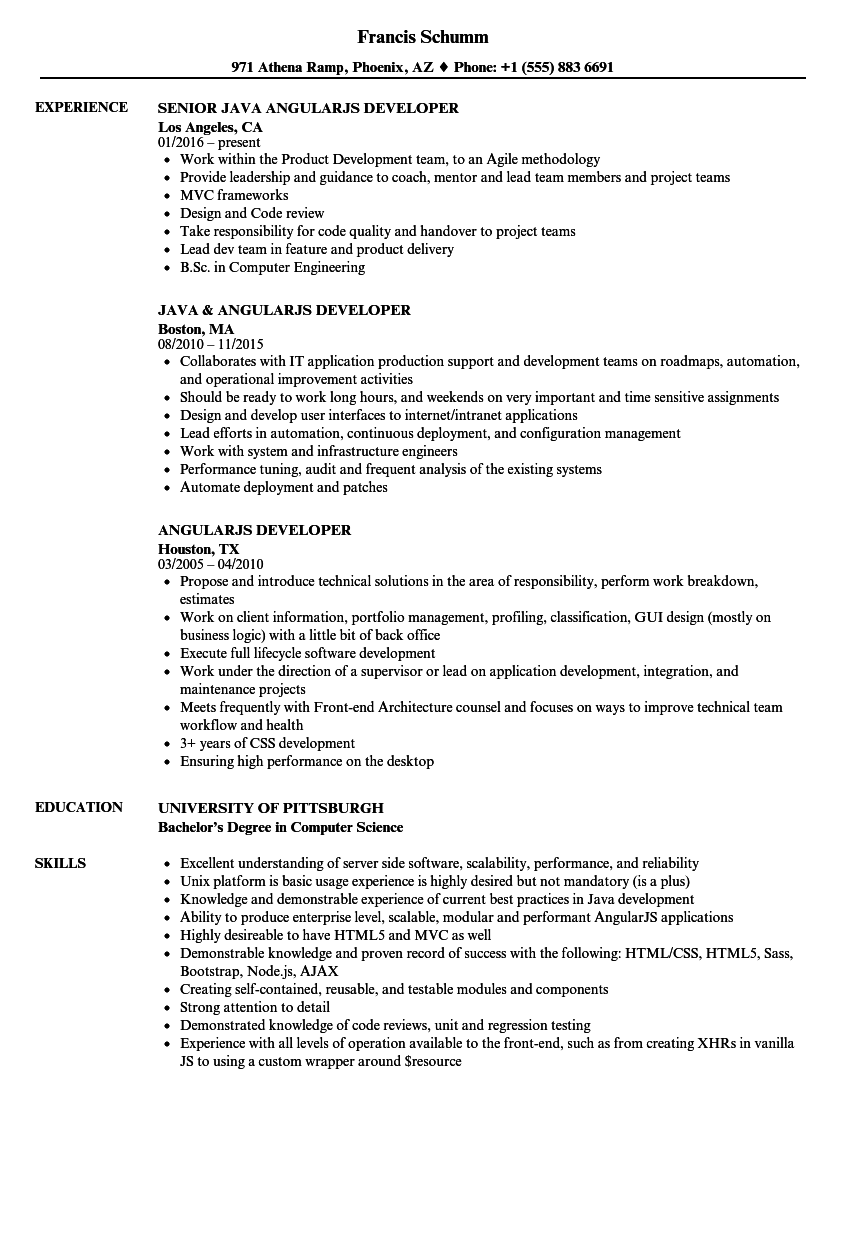 Angularjs Developer Resume Samples Velvet Jobs