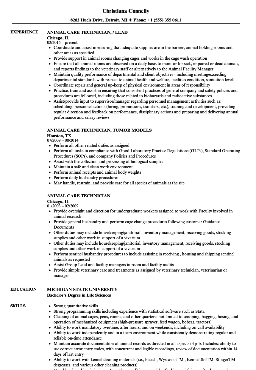 Download Animal Care Technician Resume Sample As Image File