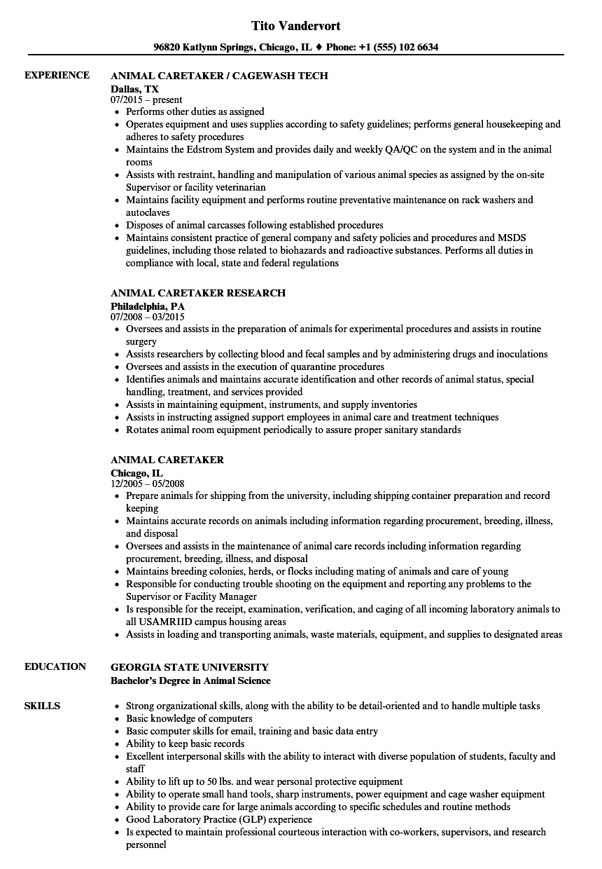 animal caretaker resume samples