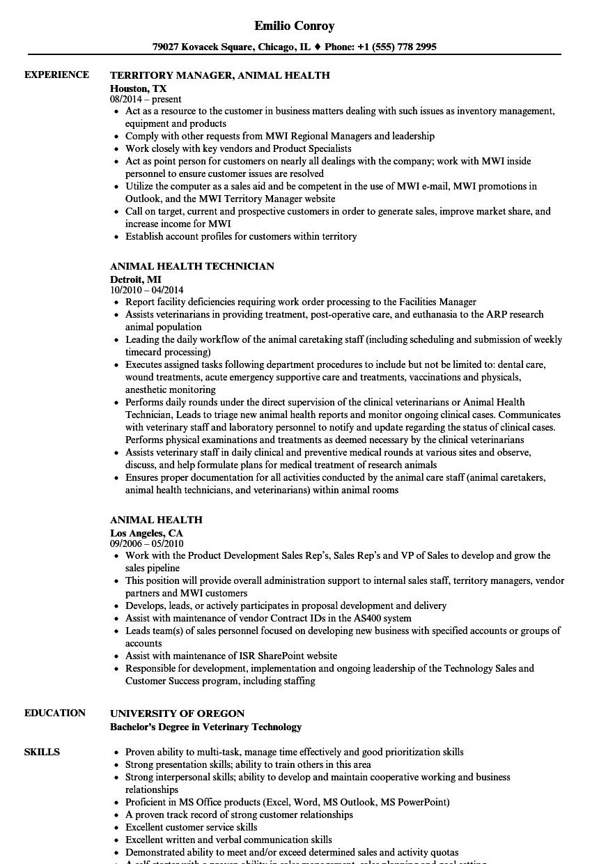 animal health resume samples velvet jobs