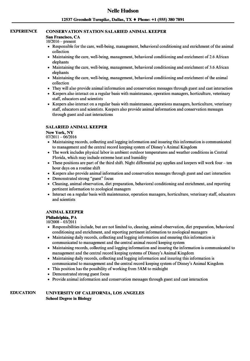 download animal keeper resume sample as image file - Animal Science Resume Examples