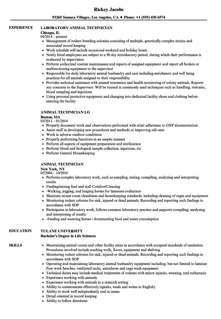 Download Animal Technician Resume Sample As Image File