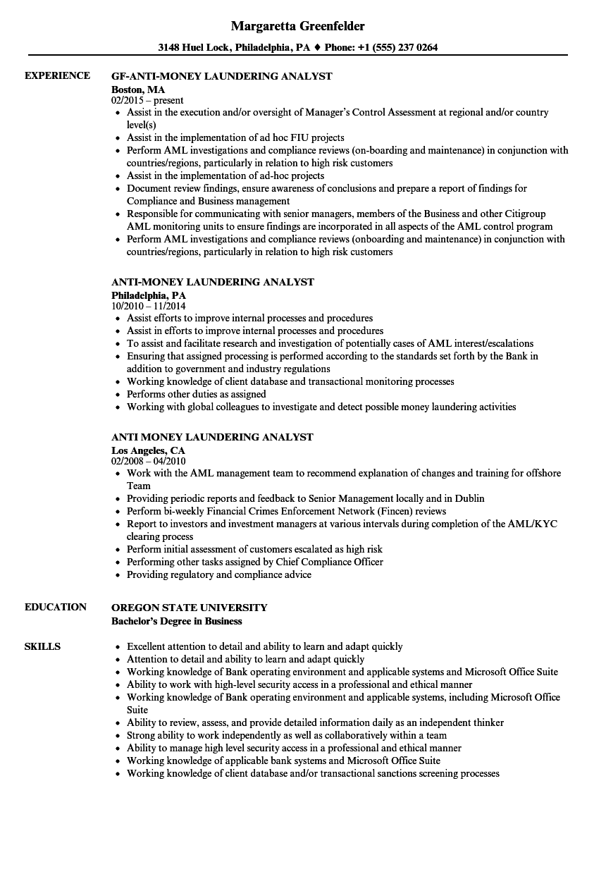 Analyst resume template example for Anti money laundering compliance program template