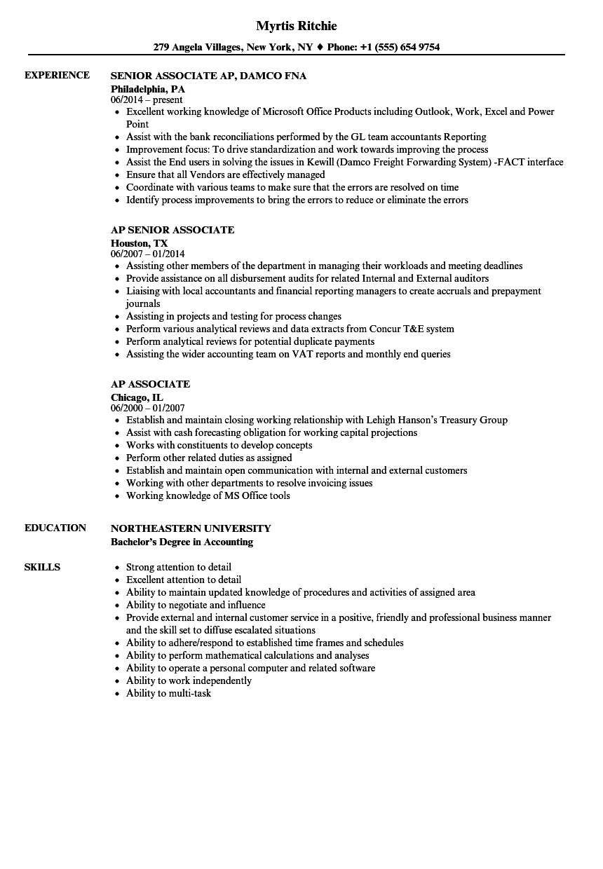 Ap Associate Resume Samples Velvet Jobs