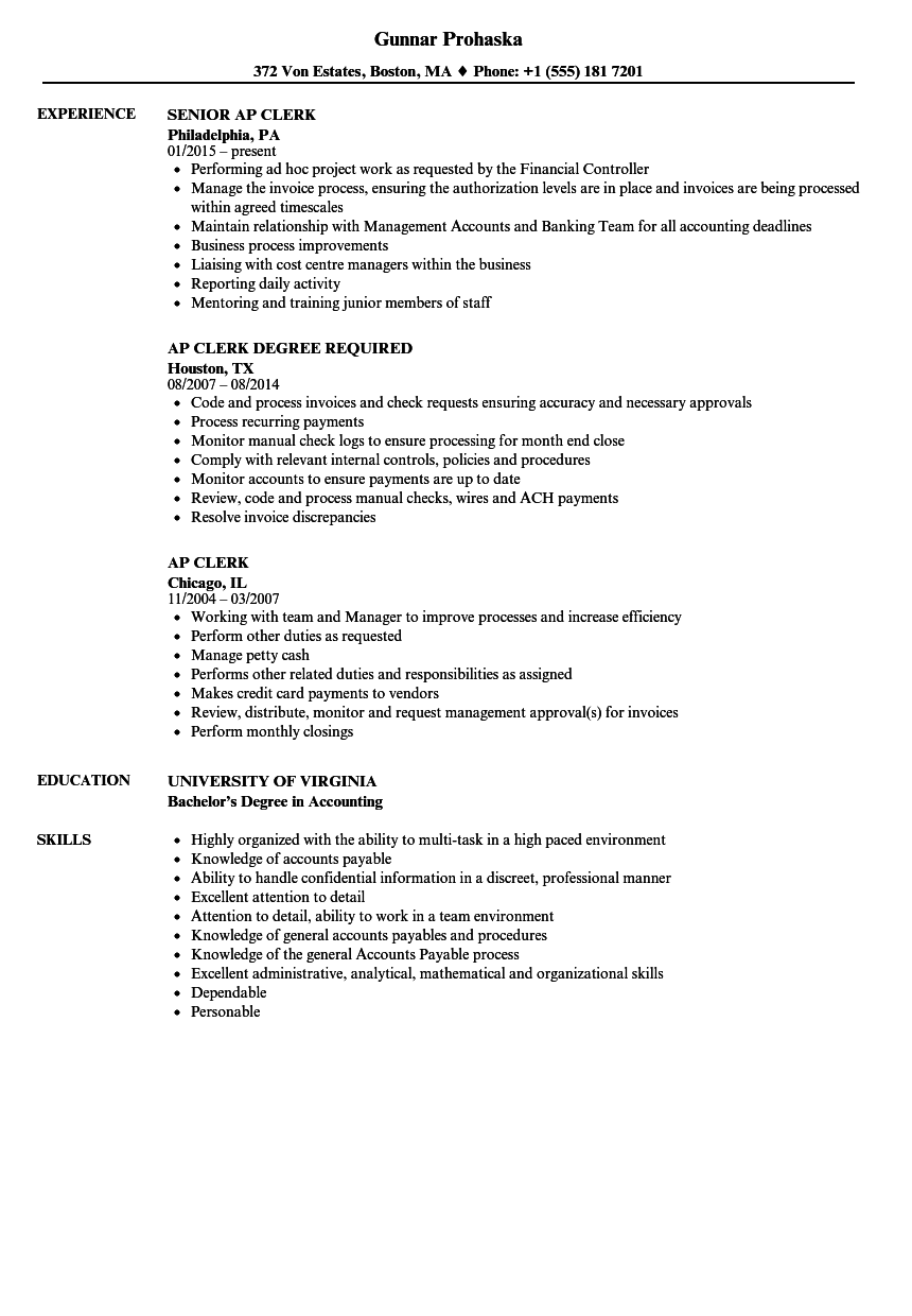 Ap Clerk Resume Samples Velvet Jobs