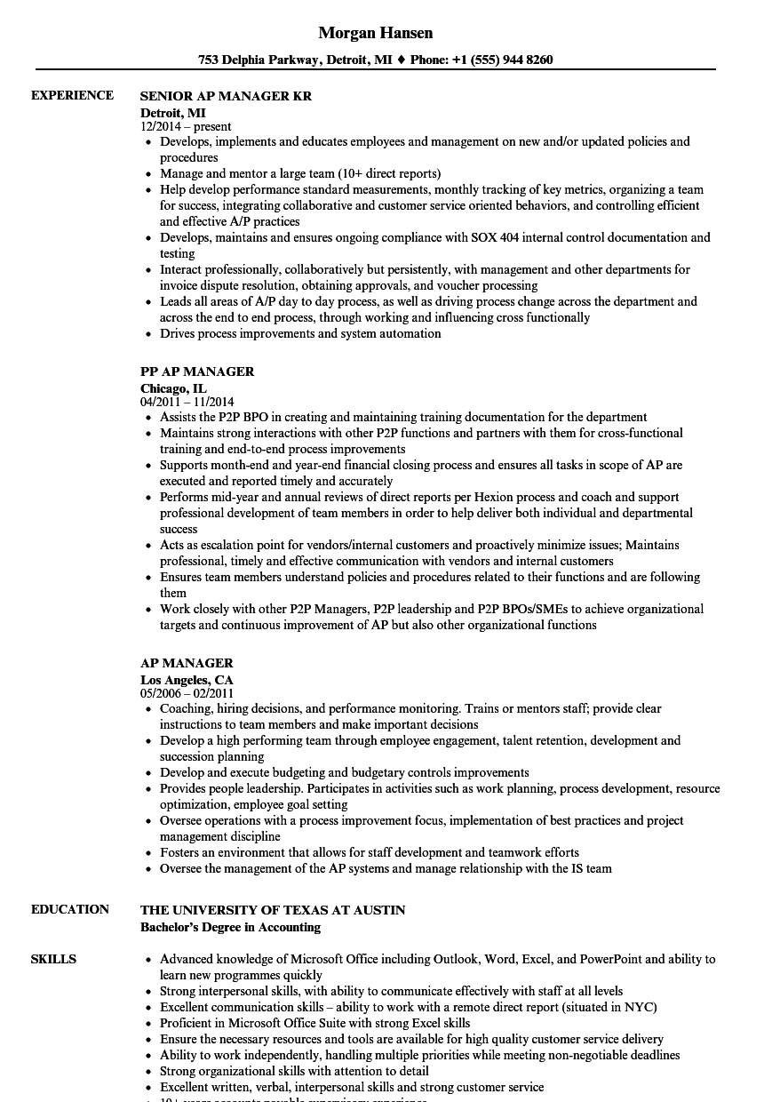 Ap Manager Resume Samples Velvet Jobs