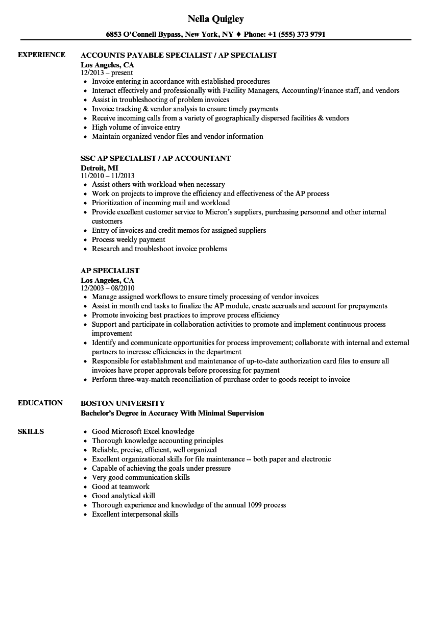 Ap Specialist Resume Samples | Velvet Jobs