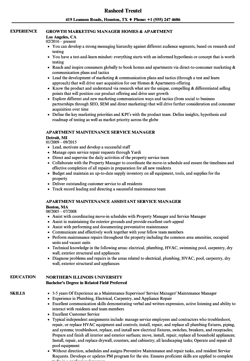 Apartment Manager Resume Samples | Velvet Jobs