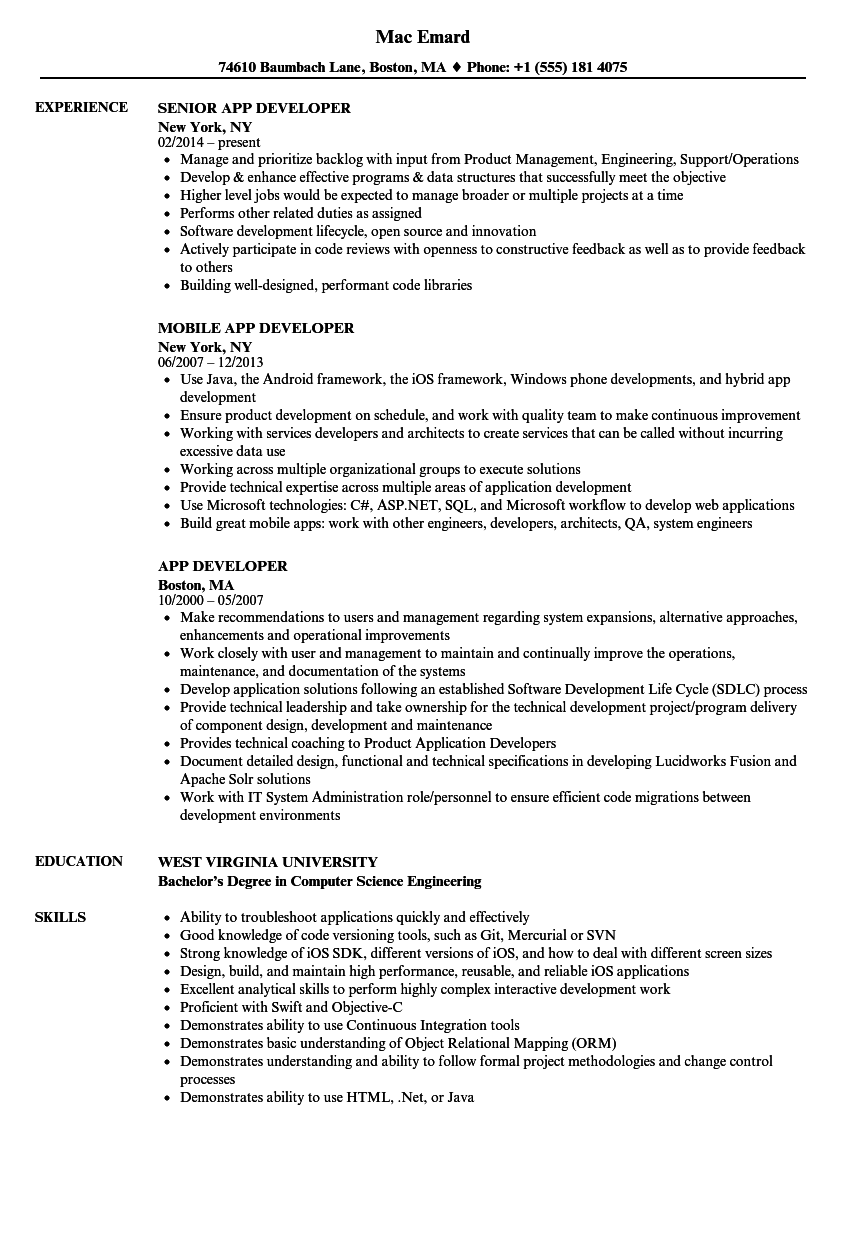 App Developer Resume Samples Velvet Jobs