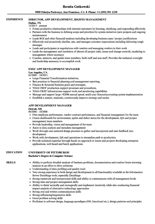 app development resume samples