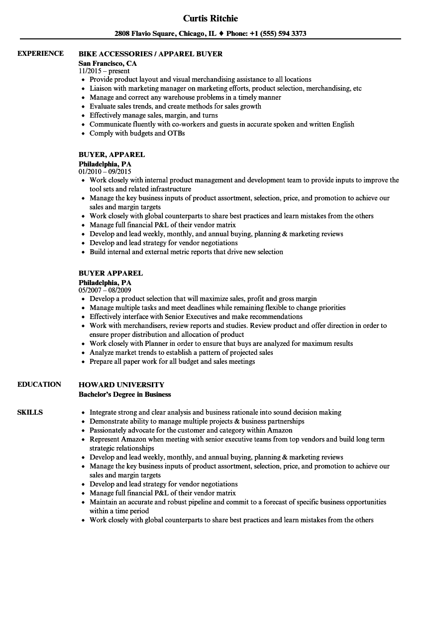 Apparel Buyer Resume Samples Velvet Jobs