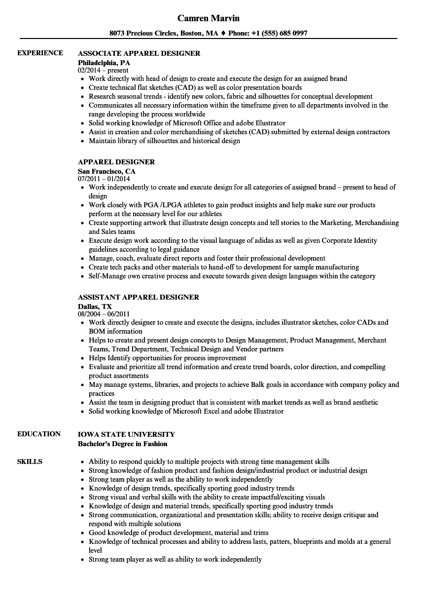 apparel designer resume