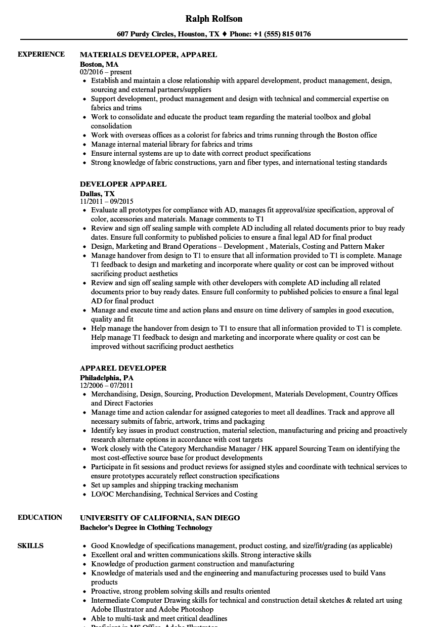 Apparel Developer Resume Samples | Velvet Jobs