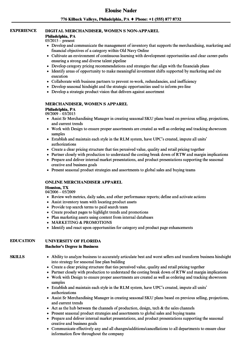 apparel merchandiser resume samples