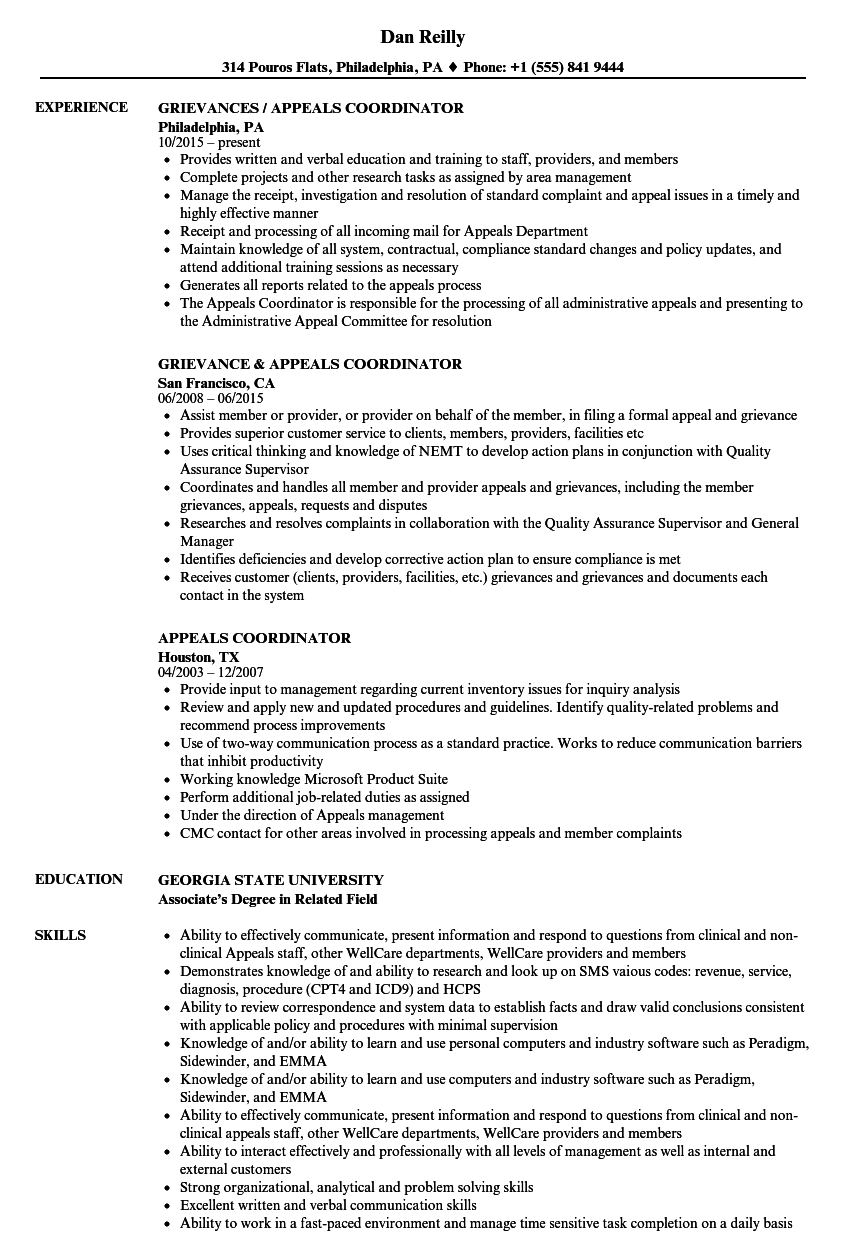 appeals coordinator resume samples