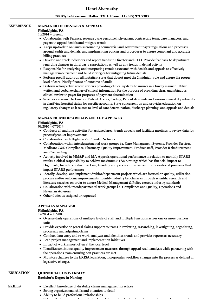Appeals Manager Resume Samples | Velvet Jobs