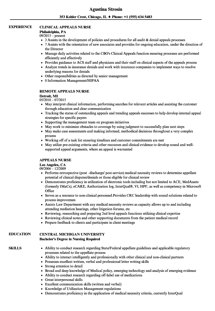 Appeals Nurse Resume Samples | Velvet Jobs