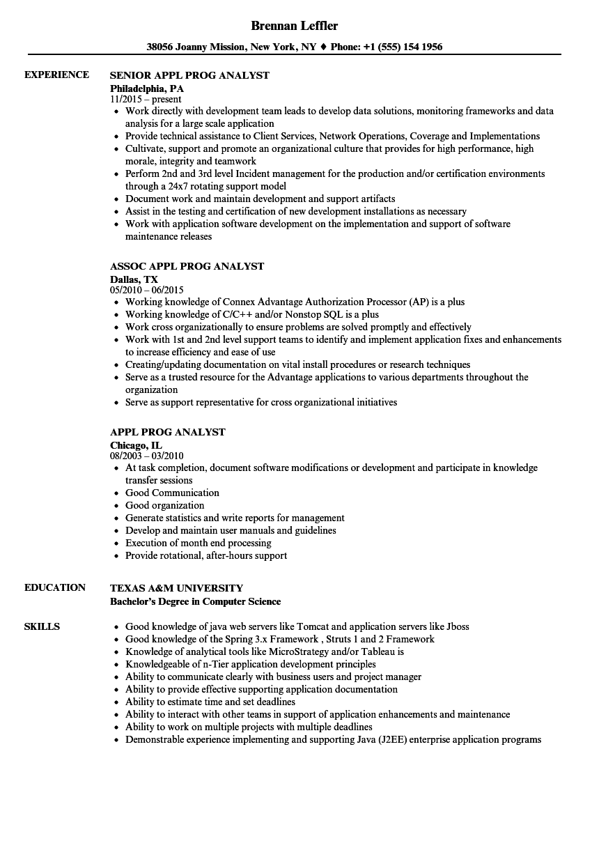 appl prog analyst resume samples
