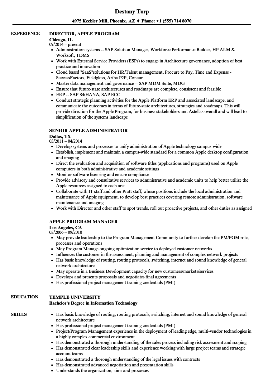 apple resume samples