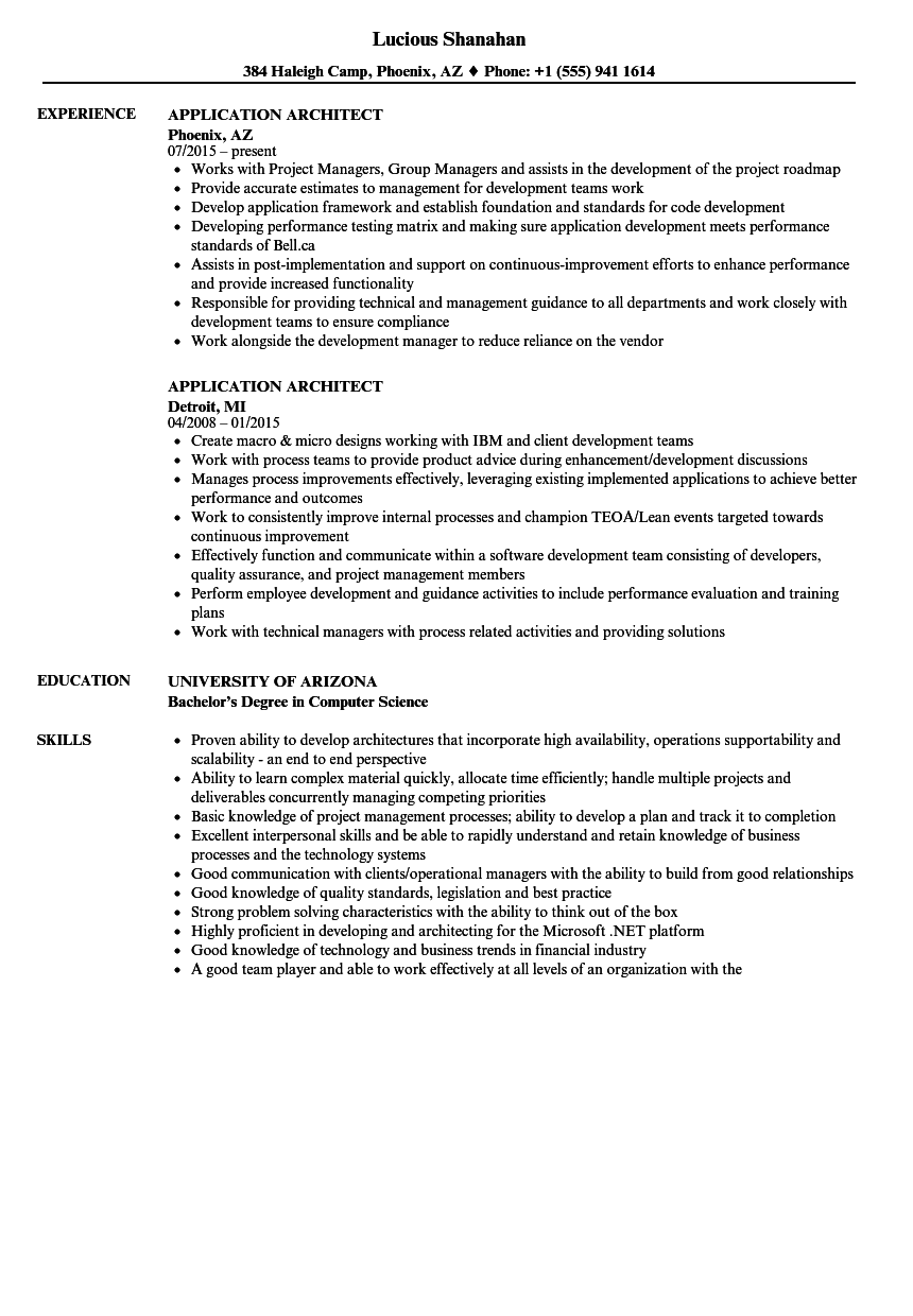 Application Architect Resume Samples Velvet Jobs