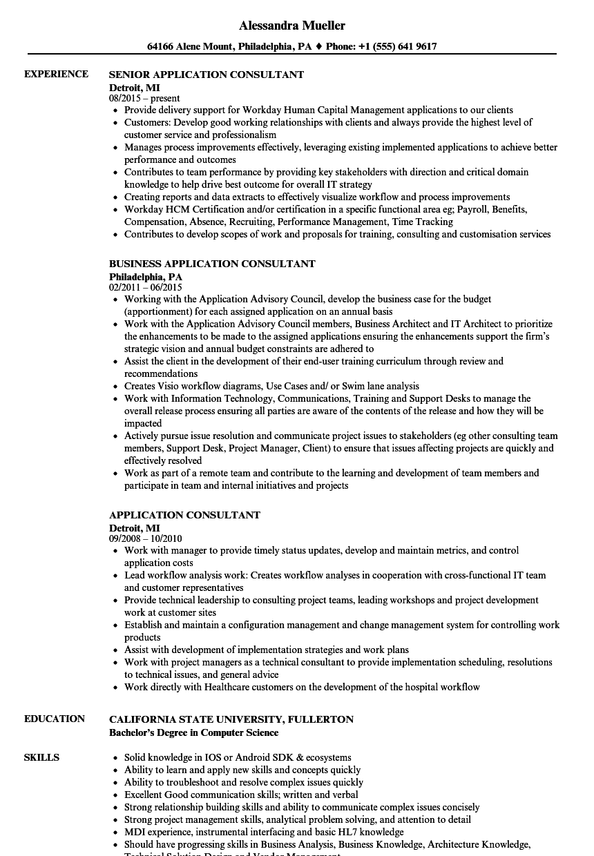 Application Consultant Resume Samples Velvet Jobs
