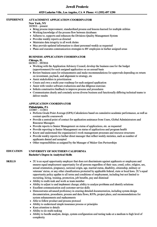 application coordinator resume samples
