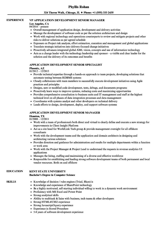 application development senior resume samples