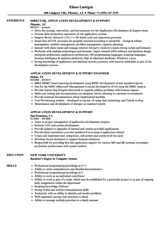 application development  u0026 support resume samples