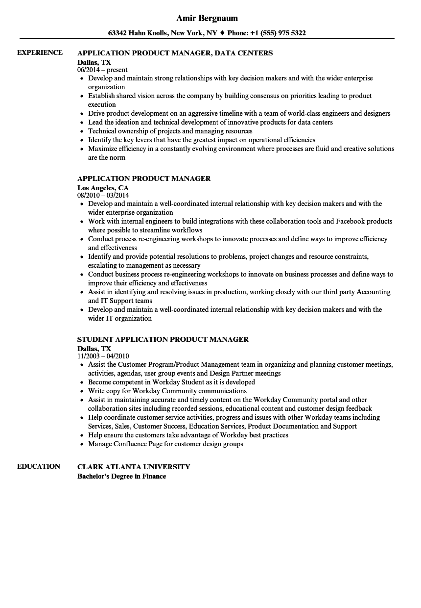 application product manager resume samples velvet jobs