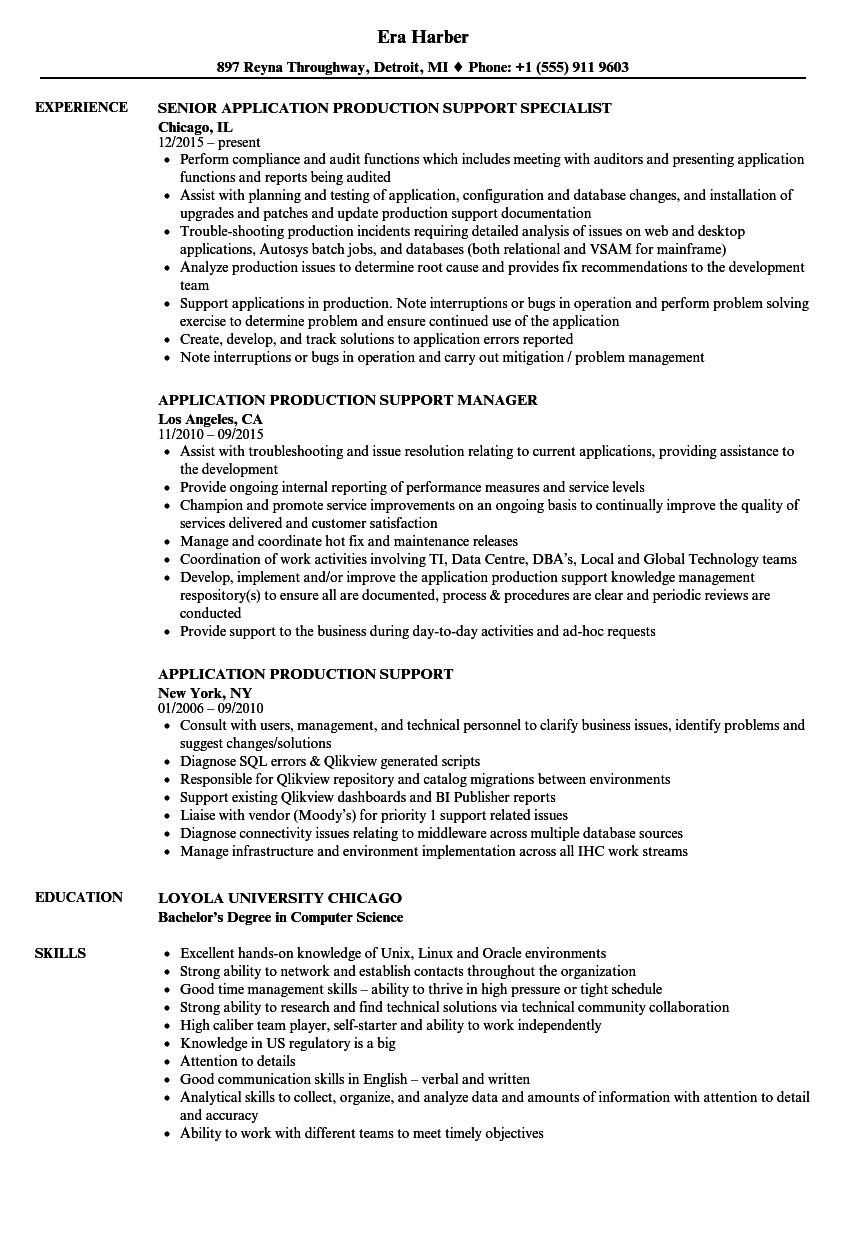 Application Production Support Resume Samples | Velvet Jobs