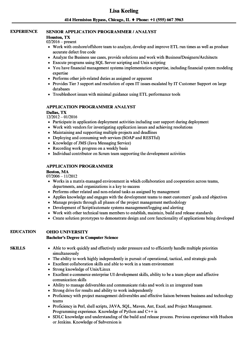Application Programmer Resume Samples Velvet Jobs