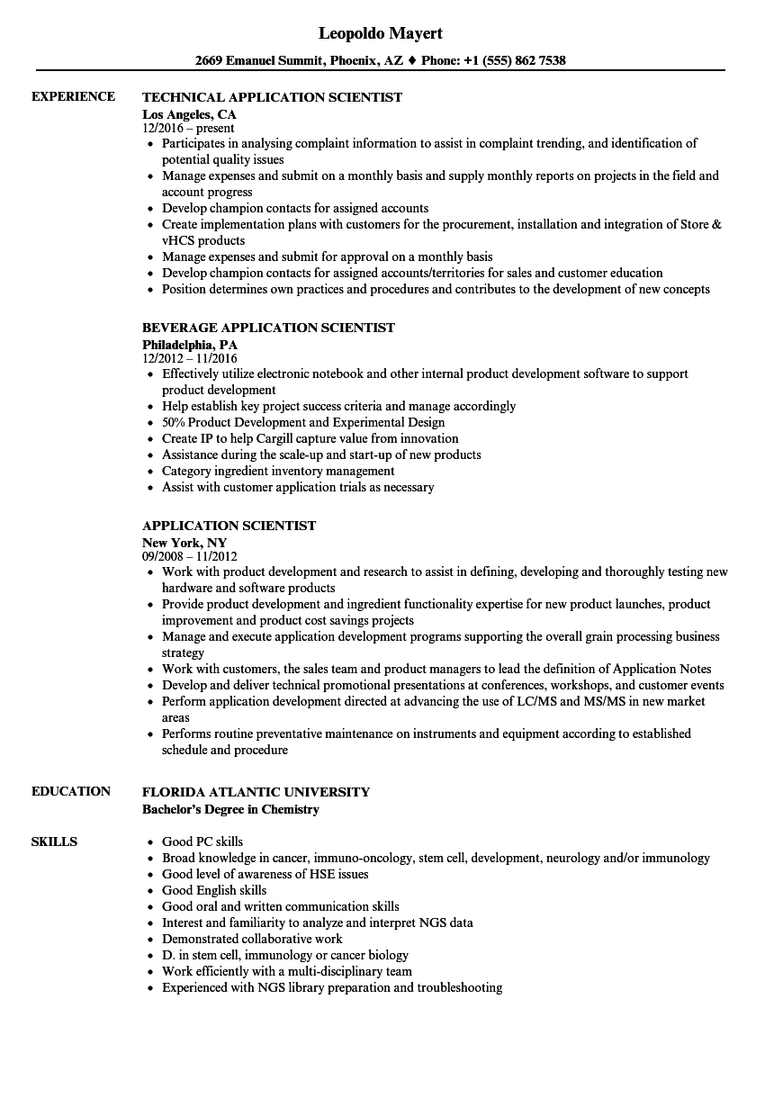 Application Scientist Resume Samples Velvet Jobs