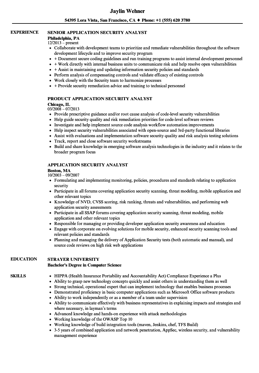 download application security analyst resume sample as image file