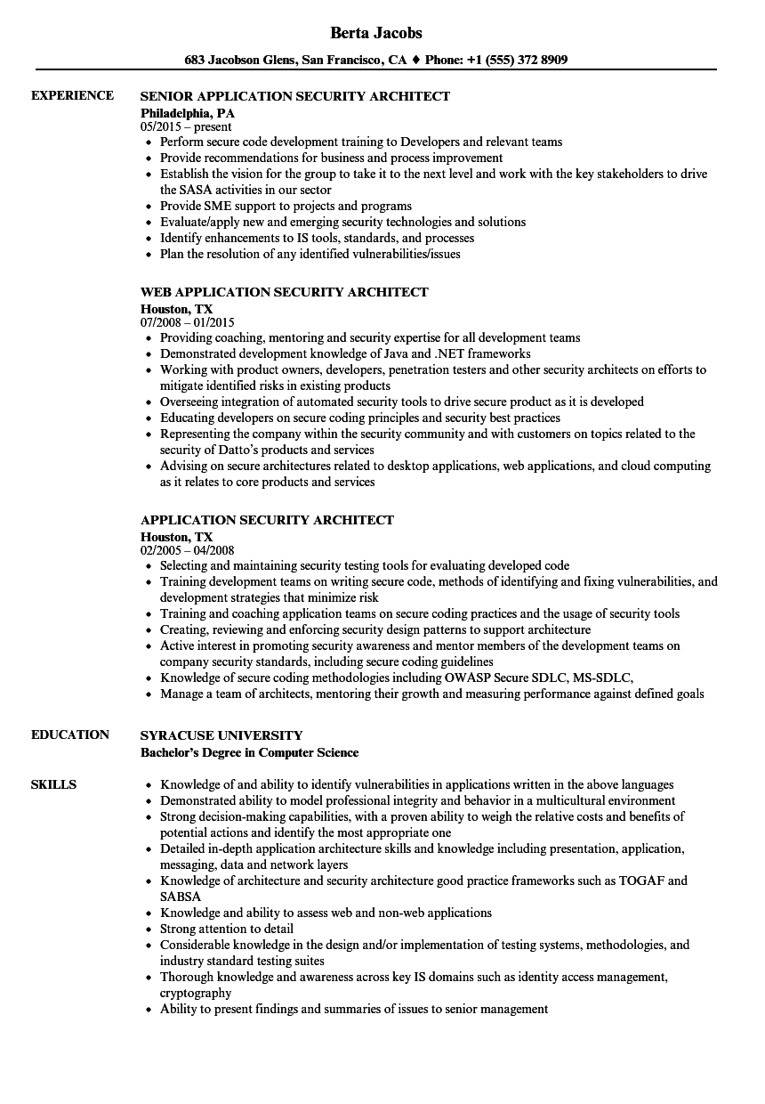 download application security architect resume sample as image file - Application Architect Resume