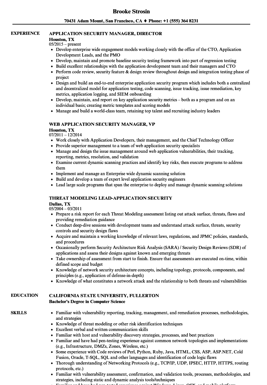 application security resume samples velvet jobs
