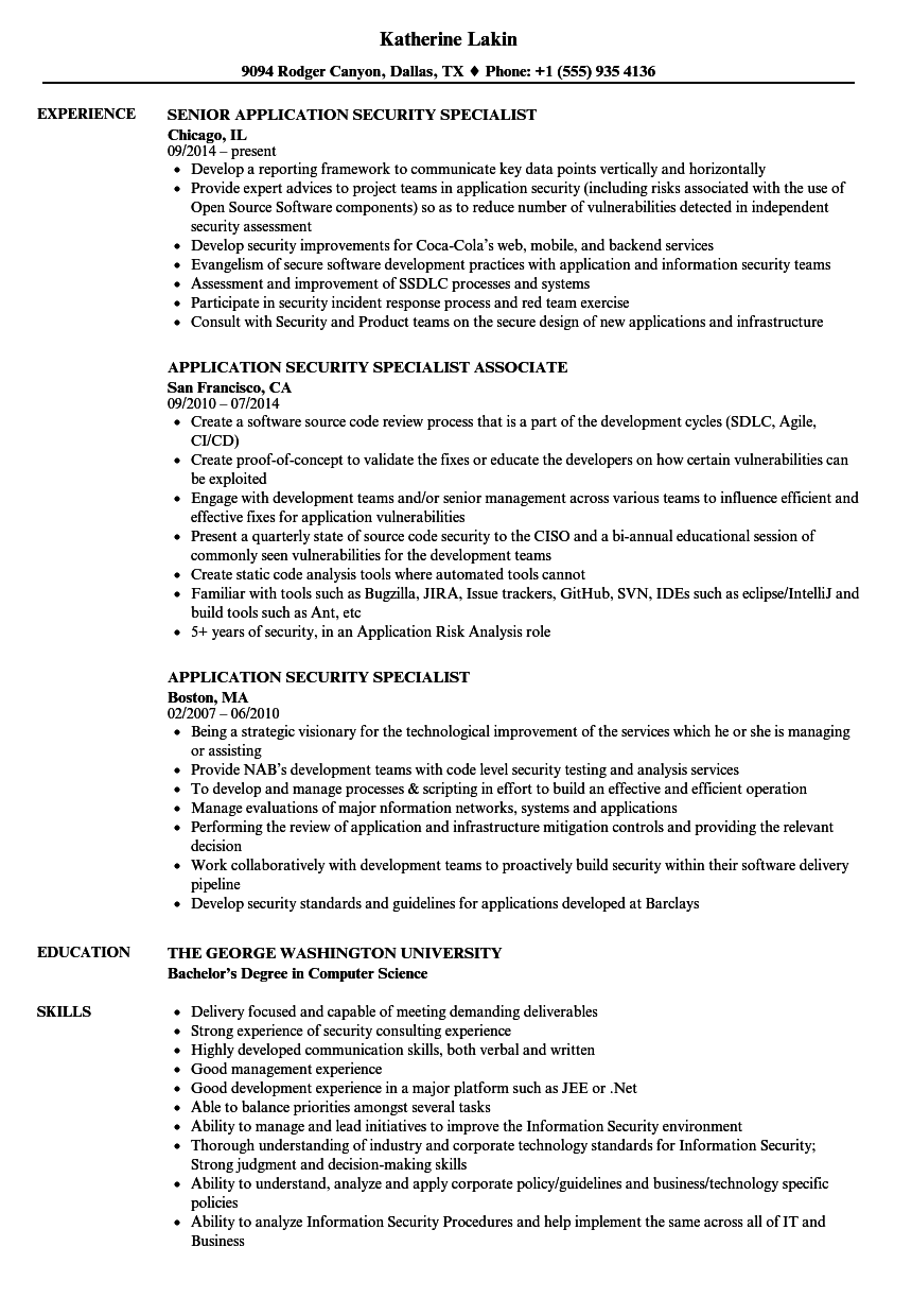 application security specialist resume samples
