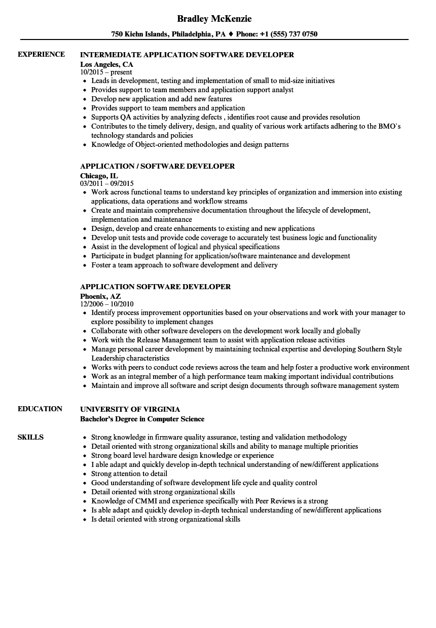 application software developer resume samples