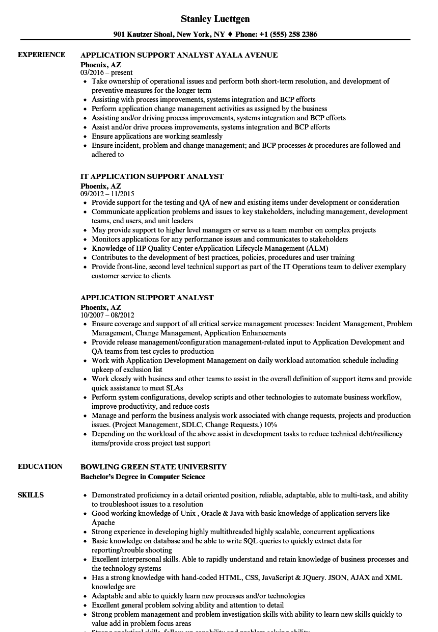 Application Support Analyst Resume Samples | Velvet Jobs