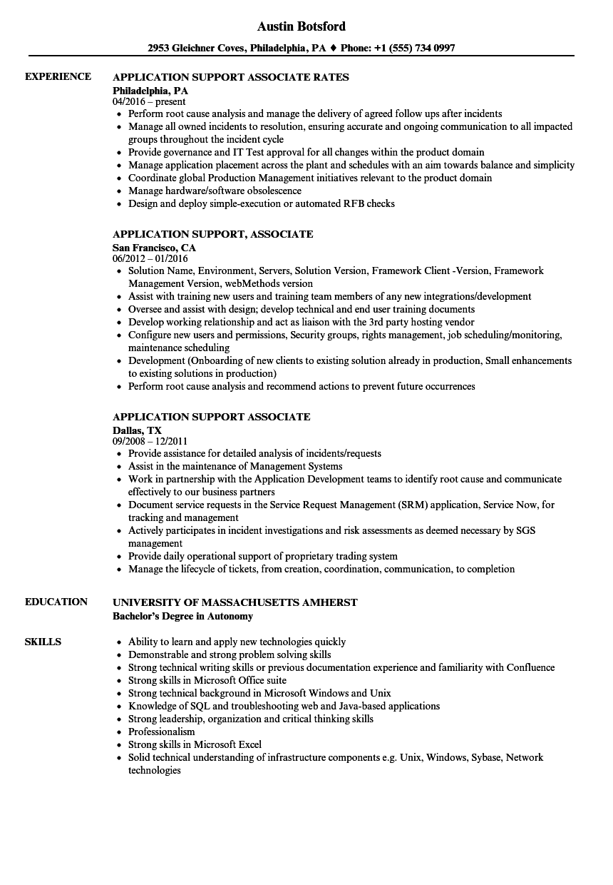 application support associate resume samples
