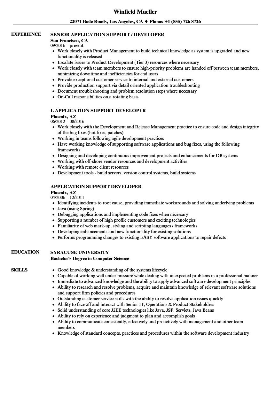 Application Support Developer Resume Samples | Velvet Jobs