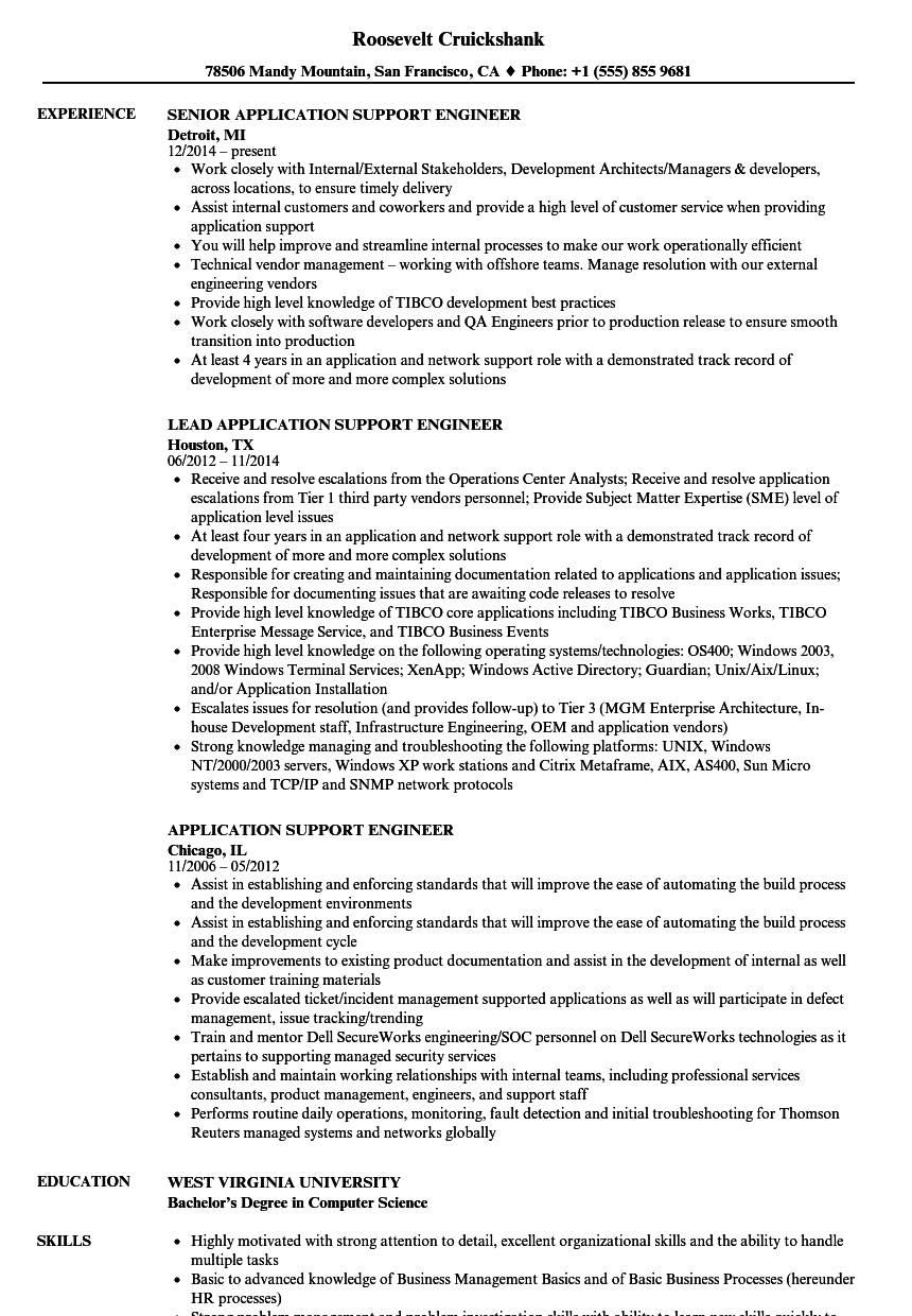 Application Support Engineer Resume Samples | Velvet Jobs