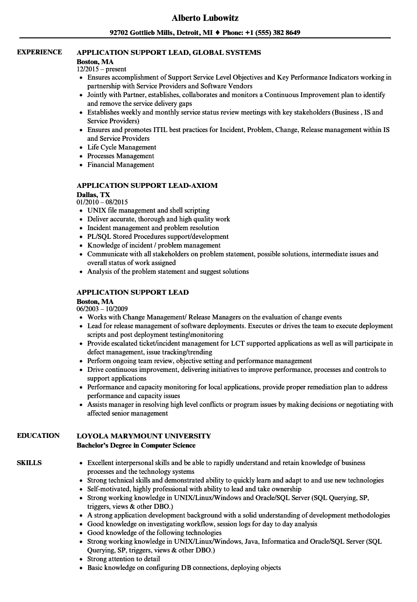 Application Support Lead Resume Samples | Velvet Jobs