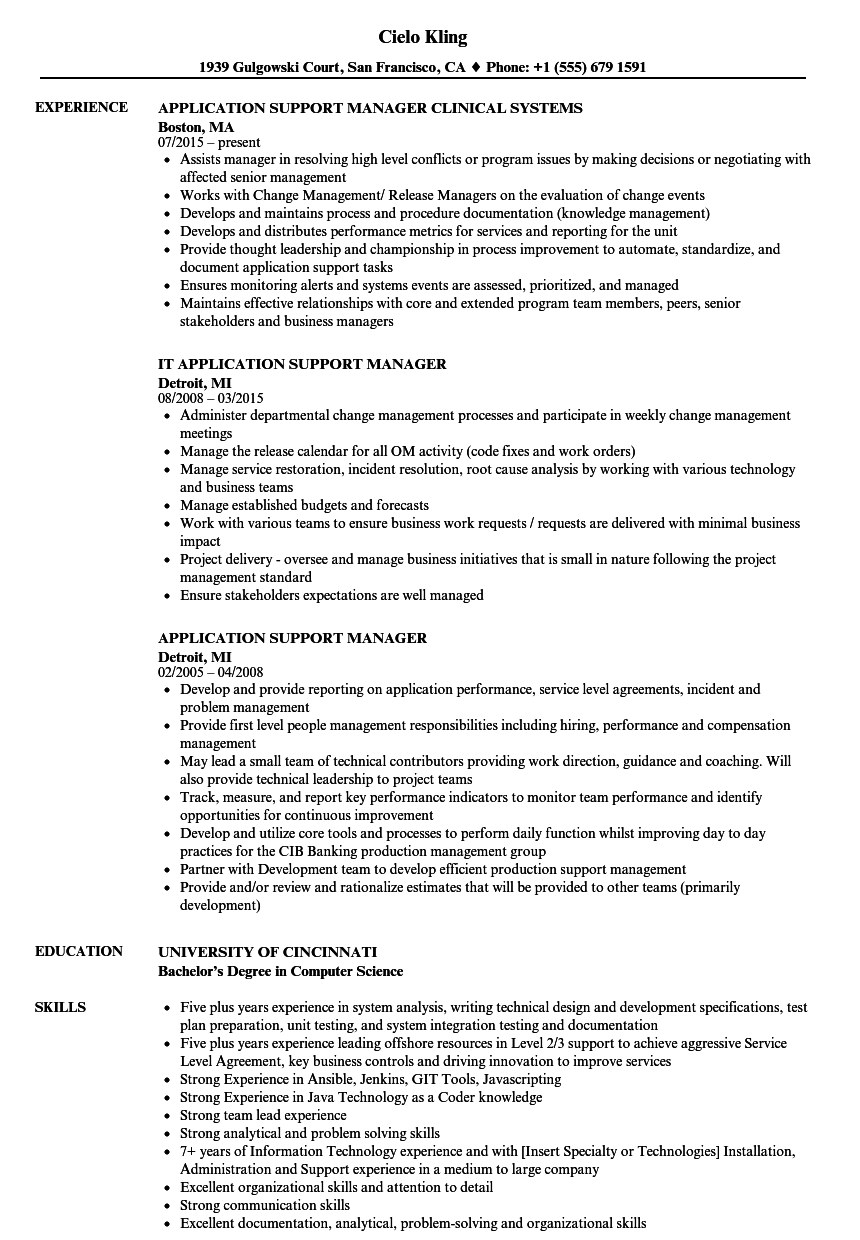 application support manager resume samples